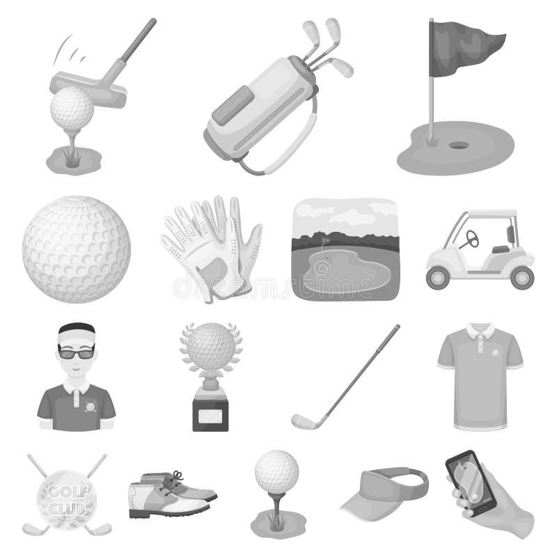 Golf en attributen zwart-wit pictogrammen in vastgestelde inzameling voor ontwerp Golfclub en materiaal het vectorweb van de symb vector illustratie