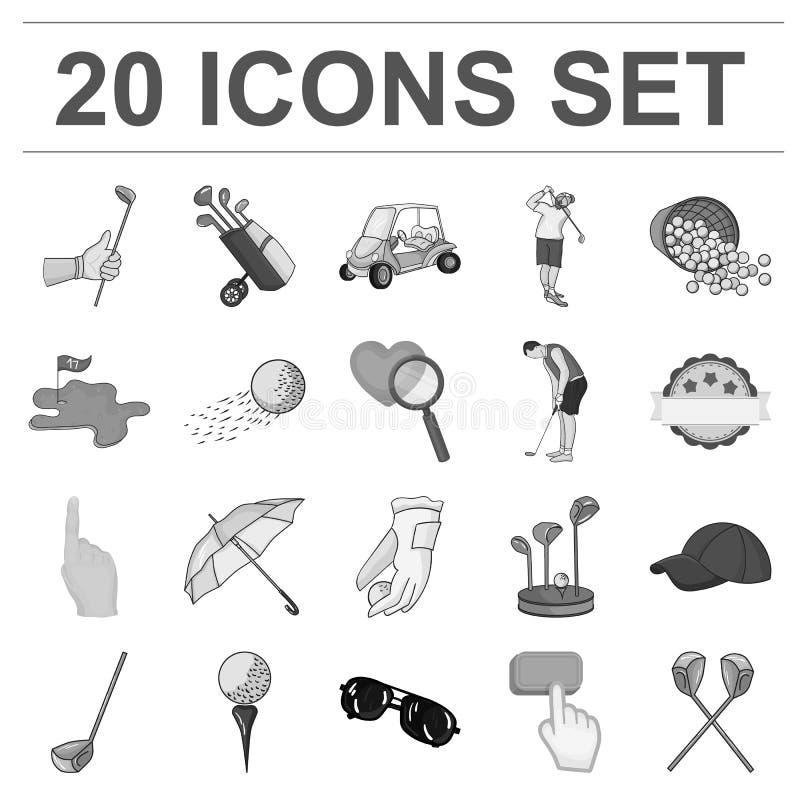 Golf en attributen zwart-wit pictogrammen in vastgestelde inzameling voor ontwerp Golfclub en materiaal het vectorweb van de symb stock illustratie