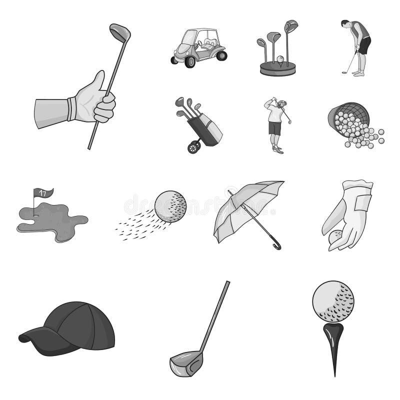 Golf en attributen zwart-wit pictogrammen in vastgestelde inzameling voor ontwerp Golfclub en materiaal het vectorweb van de symb royalty-vrije illustratie