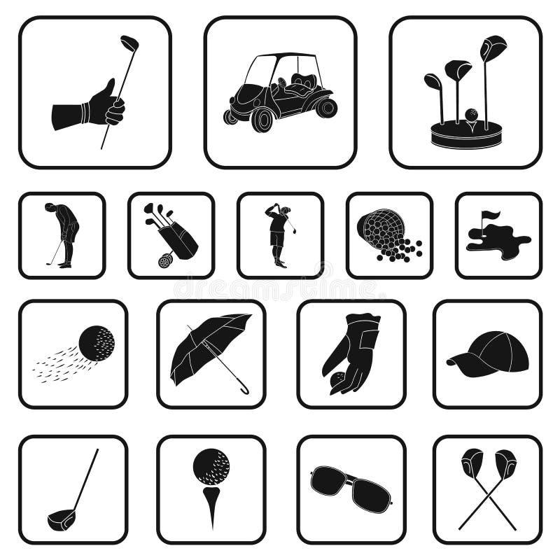 Golf en attributen zwarte pictogrammen in vastgestelde inzameling voor ontwerp Golfclub en materiaal het vectorweb van de symbool stock illustratie