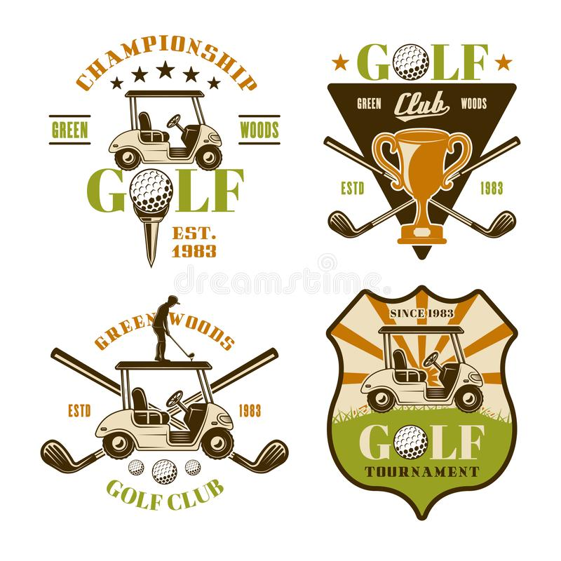 Golf en golfing reeks vectorsportemblemen royalty-vrije illustratie