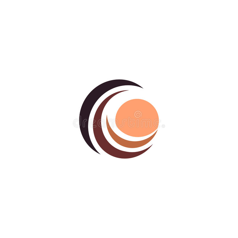 Golf en roomkleurenzon, zonsondergang en zonsopgang logotype Geïsoleerd abstract decoratief embleem, het malplaatje van het ontwe vector illustratie