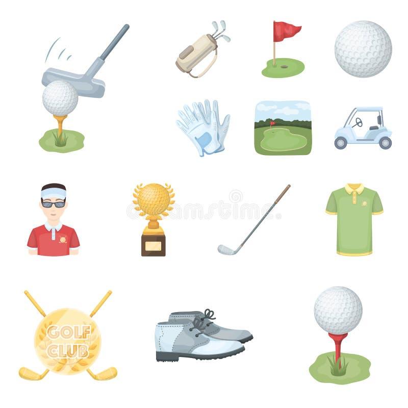 Golf en van het attributenbeeldverhaal pictogrammen in vastgestelde inzameling voor ontwerp Golfclub en materiaal het vectorweb v vector illustratie