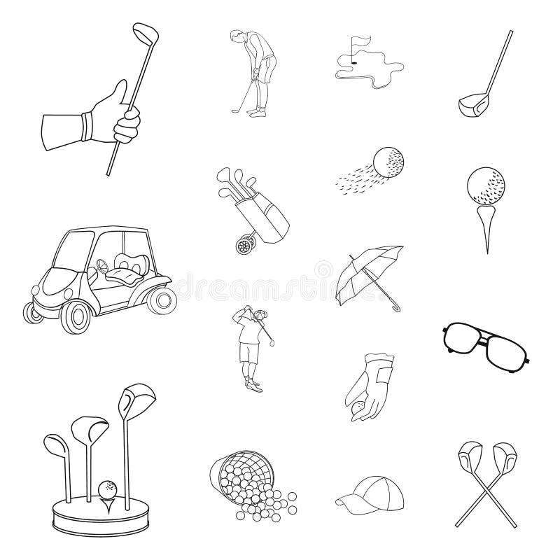 Golf en van het attributenoverzicht pictogrammen in vastgestelde inzameling voor ontwerp Golfclub en materiaal het vectorweb van  vector illustratie