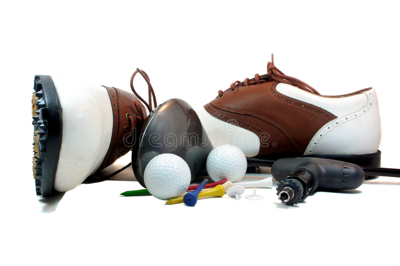 Golf Equipment. Isolated on white royalty free stock photo