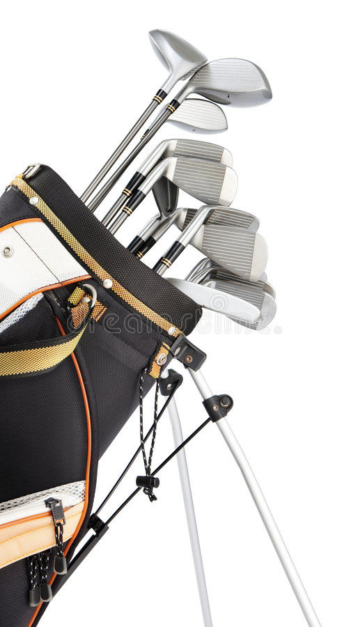 Golf equipment. In bag isolated on white stock photo