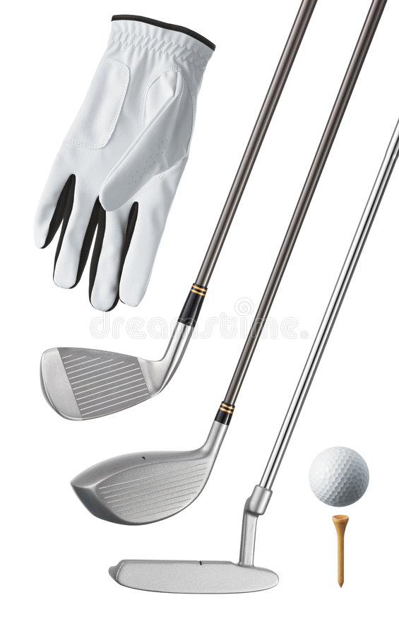 Golf equipment. Isolated, can be used individually stock photography