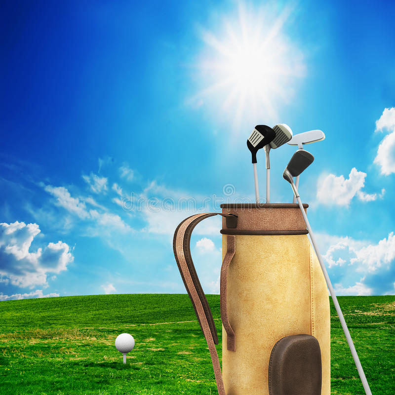 Golf equipment and ball. On golf course. Sunny landscape. 3d model stock photo