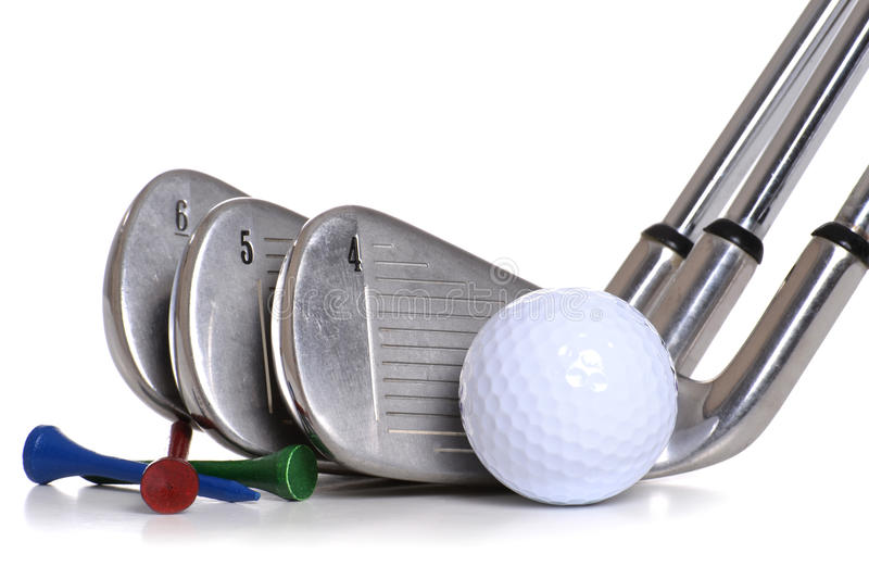 Golf Equipment. Clubs ball tees isolated white background royalty free stock photos