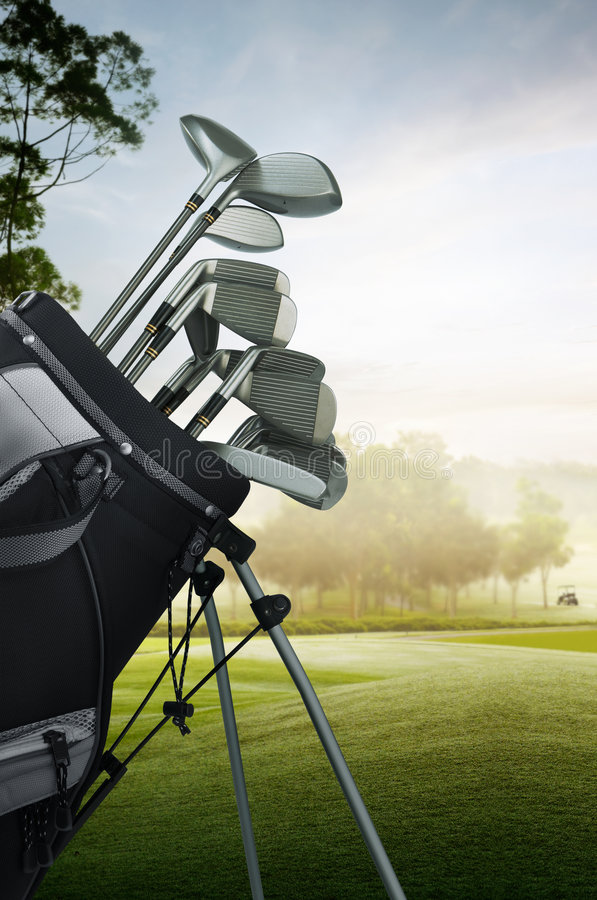 Golf equipment on the course. Close up of golf equipment on the course stock photo