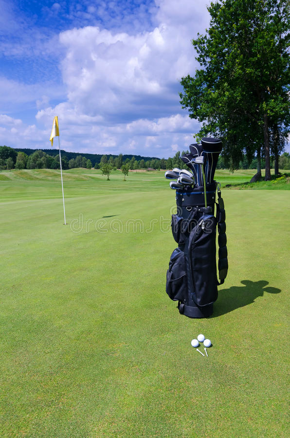 Golf equipment - outdoor composition royalty free stock photo