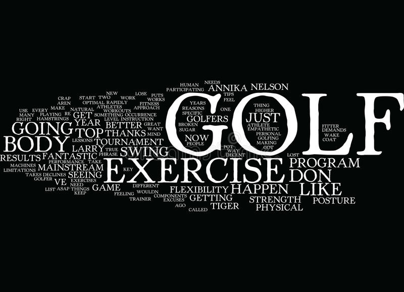 Golf Exercise For A Great Game And New Body In Word Cloud Concept vector illustration
