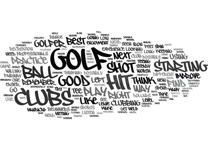 Golf för nybörjare vad gör en bra golfare att smsa begrepp för bakgrundsordmoln royaltyfri illustrationer