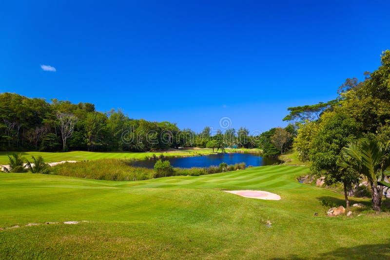 Golf field at island Praslin, Seychelles stock photography
