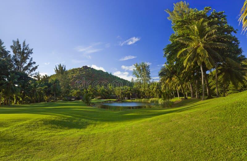 Golf field at island Praslin, Seychelles stock photo