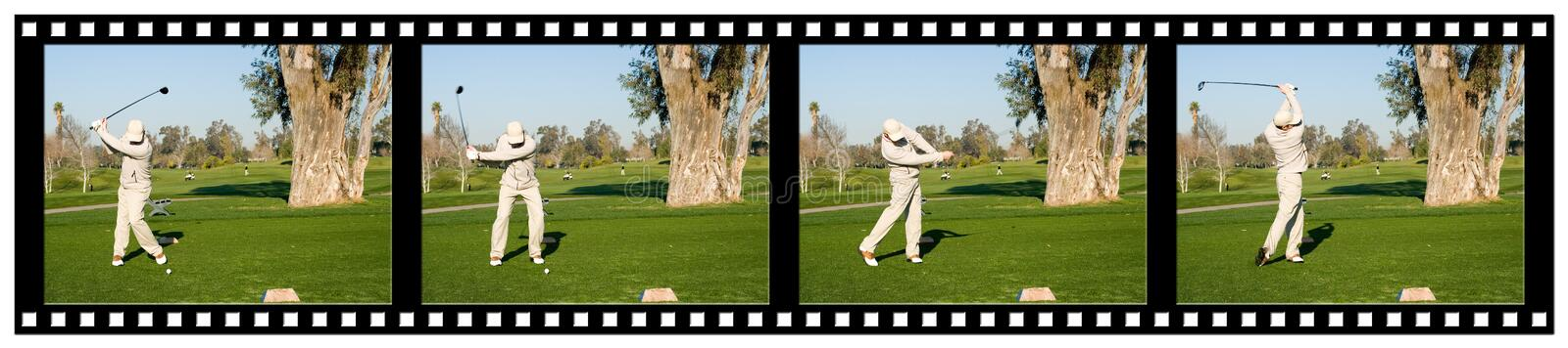 Golf Filmstrip. A sequence filmstrip of a golfer hitting a tee shot with a driver stock image