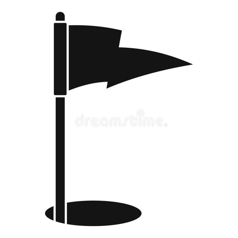 Golf flag icon, simple style stock illustration