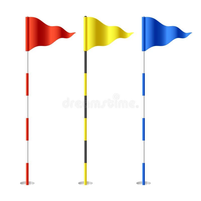 Golf flags. Vector illustration on white stock illustration