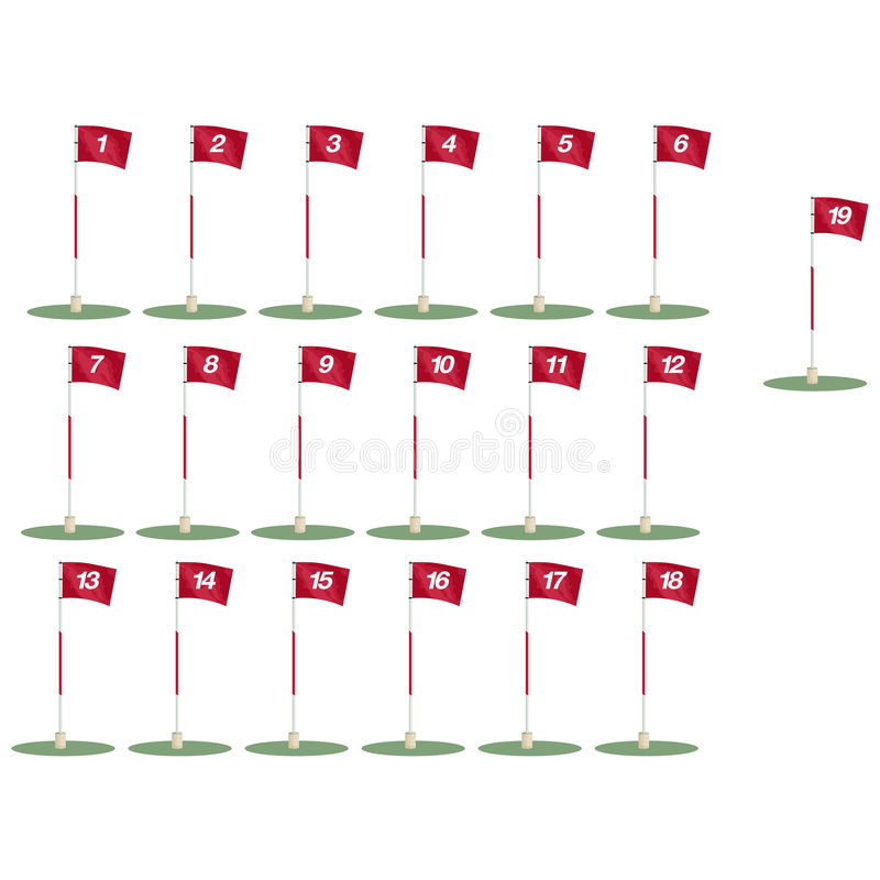 Free Golf Flags With Clipping Path Stock Image - 645871