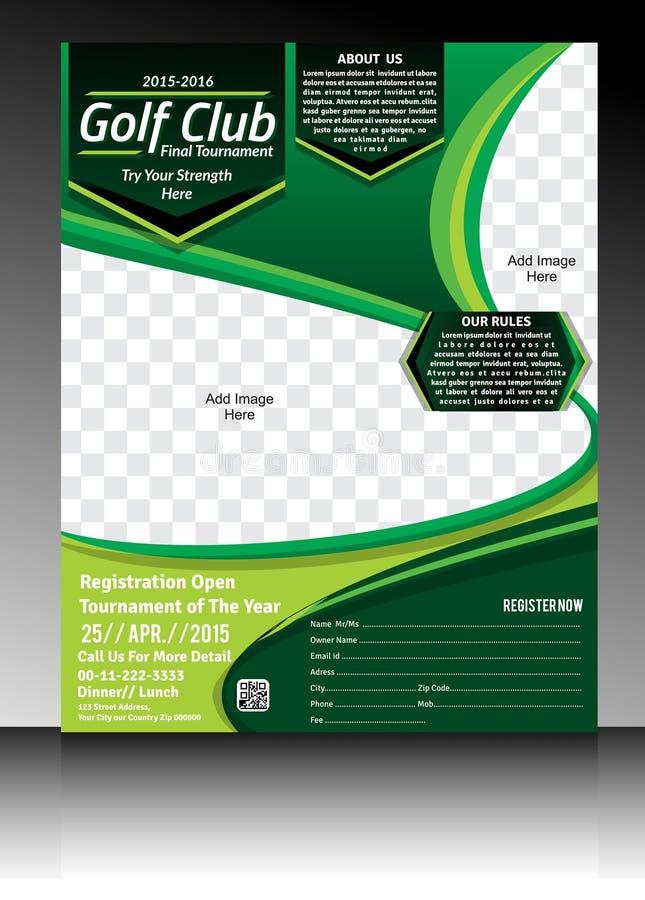Golf flyer template. Vector illustration royalty free illustration
