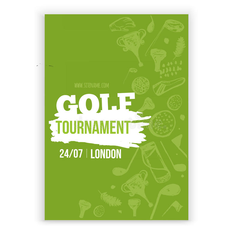 Golf flyer vector illustration. Tournament design invitation with hand drawn grunge elements. Easy to edit for your stock illustration
