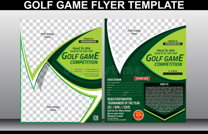 Golf game flyer and magazine cover template. Vector illustration stock illustration