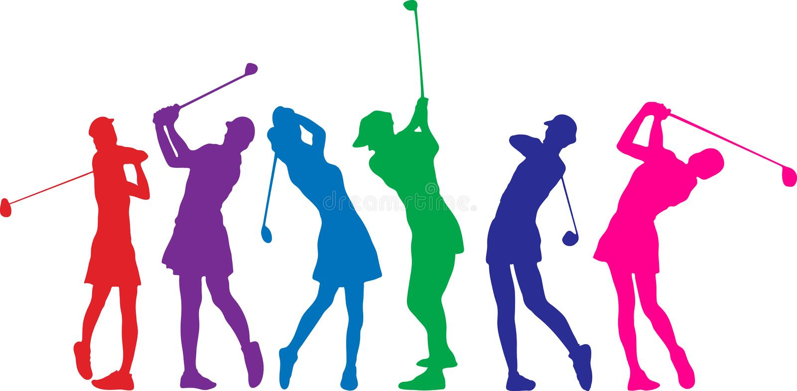 Golf girls vector illustration