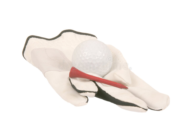 Golf glove and ball stock photography