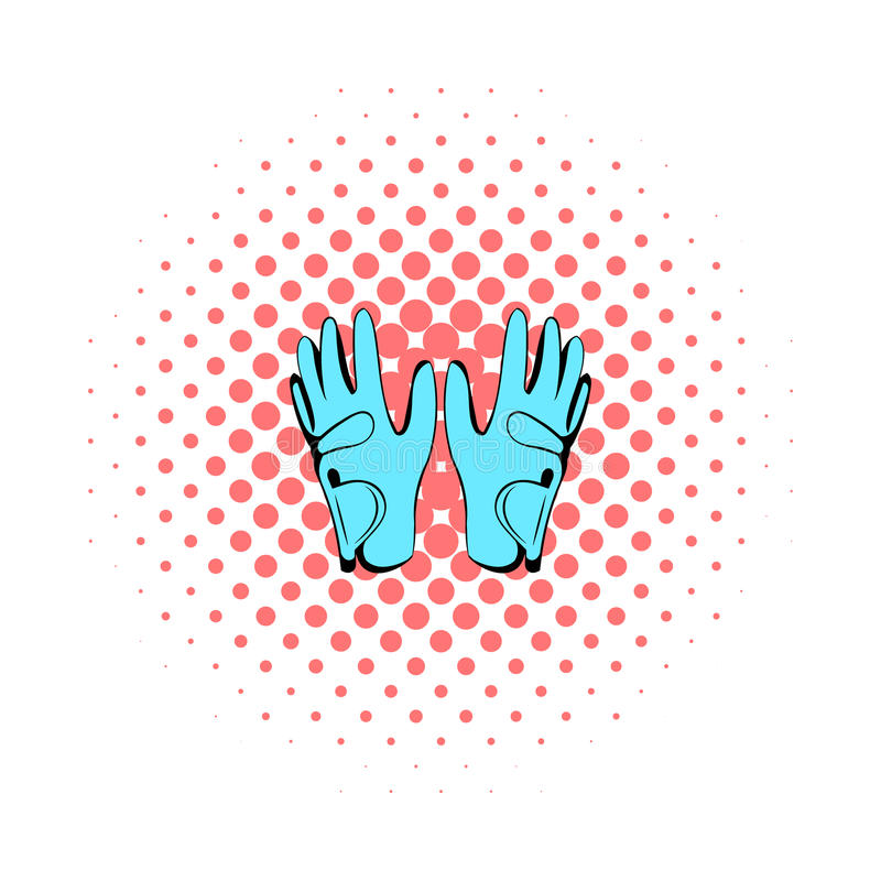 Golf glove icon, comics style. Golf glove icon in comics style on a white background stock illustration