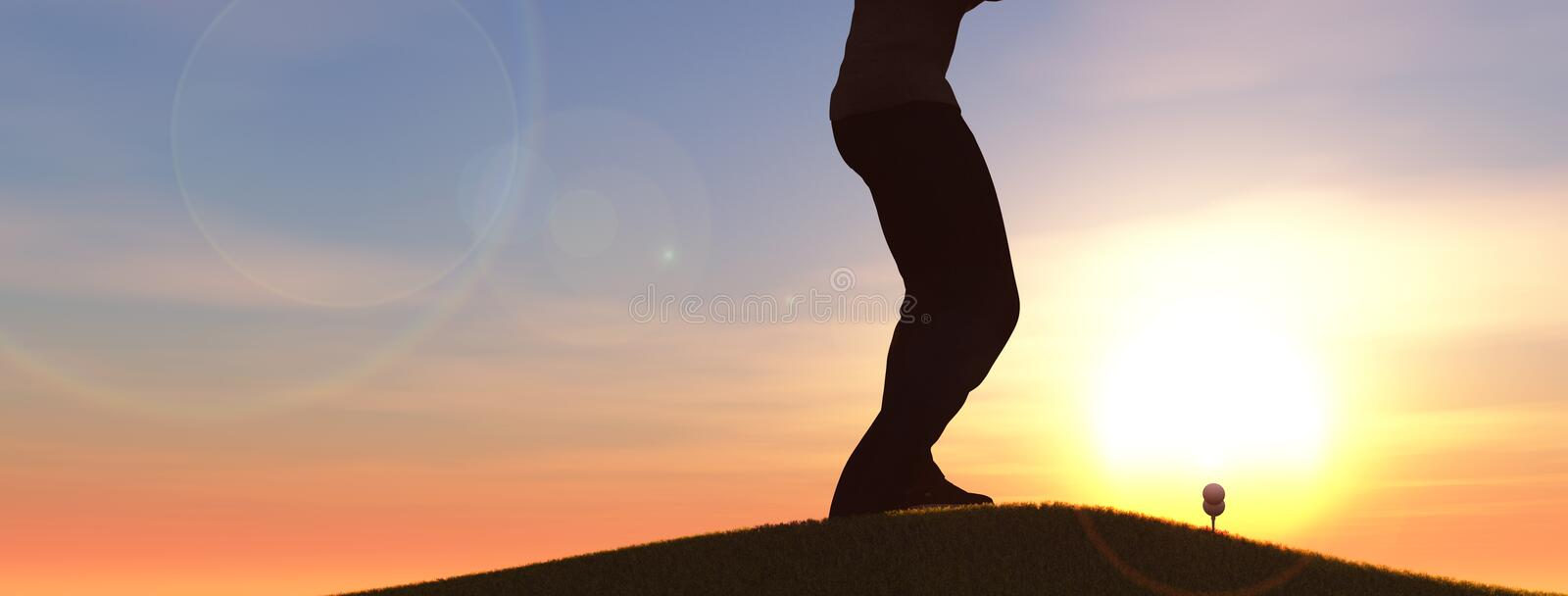 Golf. Player about to hit the ball 3d illustration stock illustration