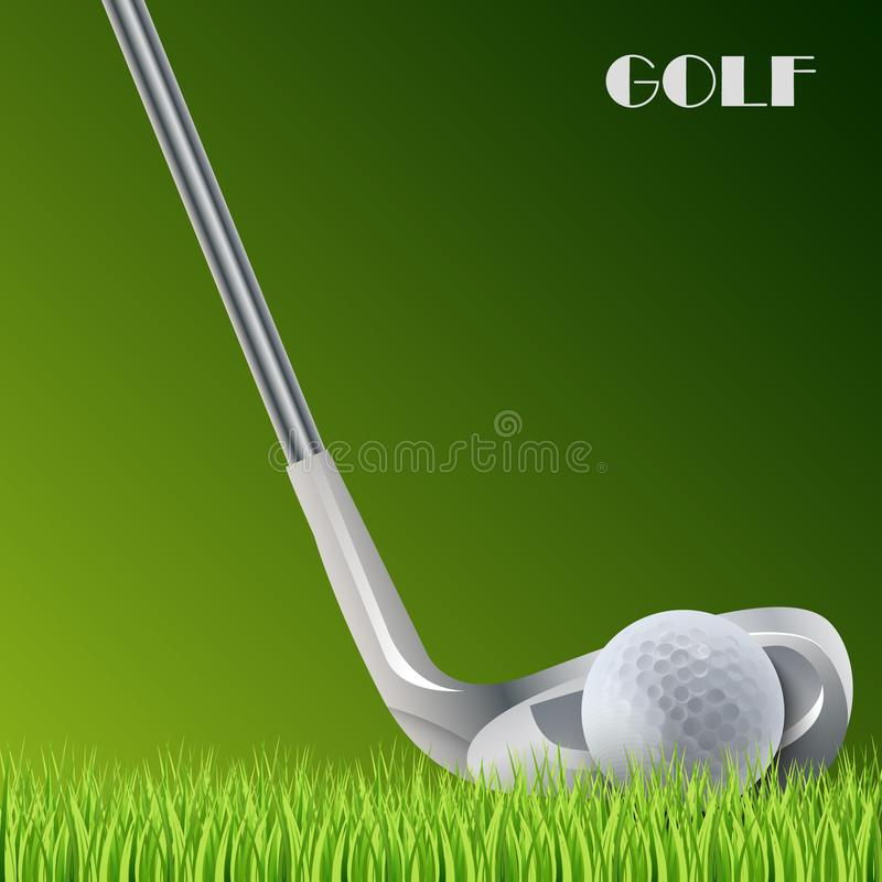 Golf green background with ball and stick template stock illustration