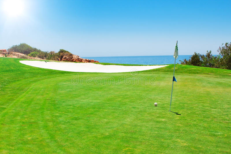 Download Golf Green Field On The Background Of The Sea. Stock Photo - Image: 25618028