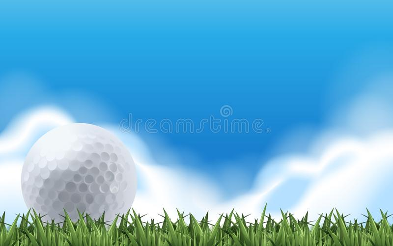 Golf on the green field royalty free illustration