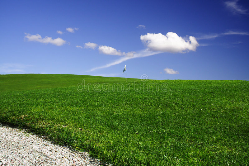 Golf green white blue royalty free stock photography