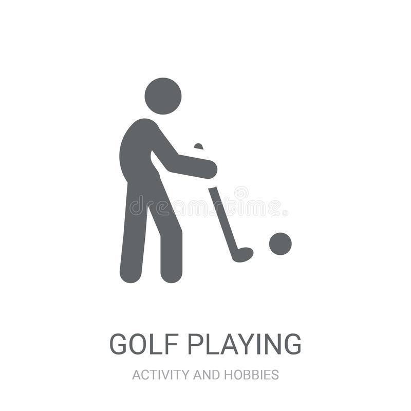 Golf het spelen pictogram Concept van het in Golf het speelembleem op witte bac stock illustratie