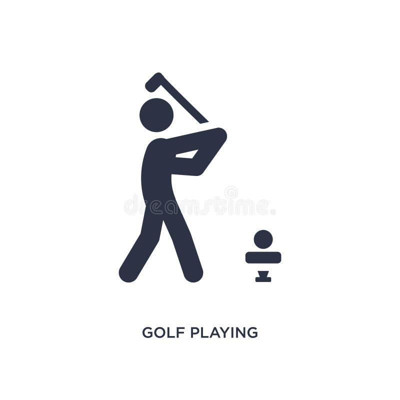 golf het spelen pictogram op witte achtergrond Eenvoudige elementenillustratie van Activiteit en hobbysconcept royalty-vrije illustratie