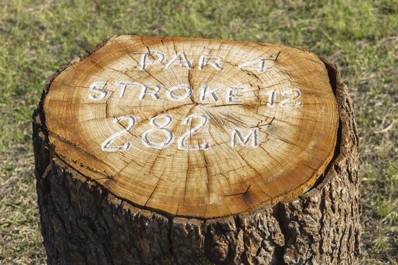 Golf Hole Information Marker stock photo