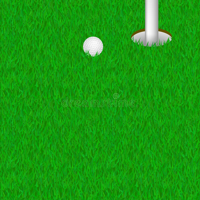 Golf hole in lown with ball vector illustration