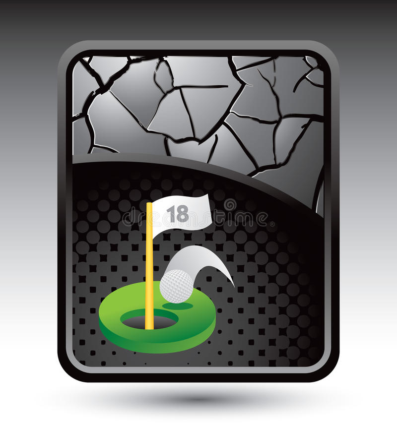 Golf hole in one under cracked silver background