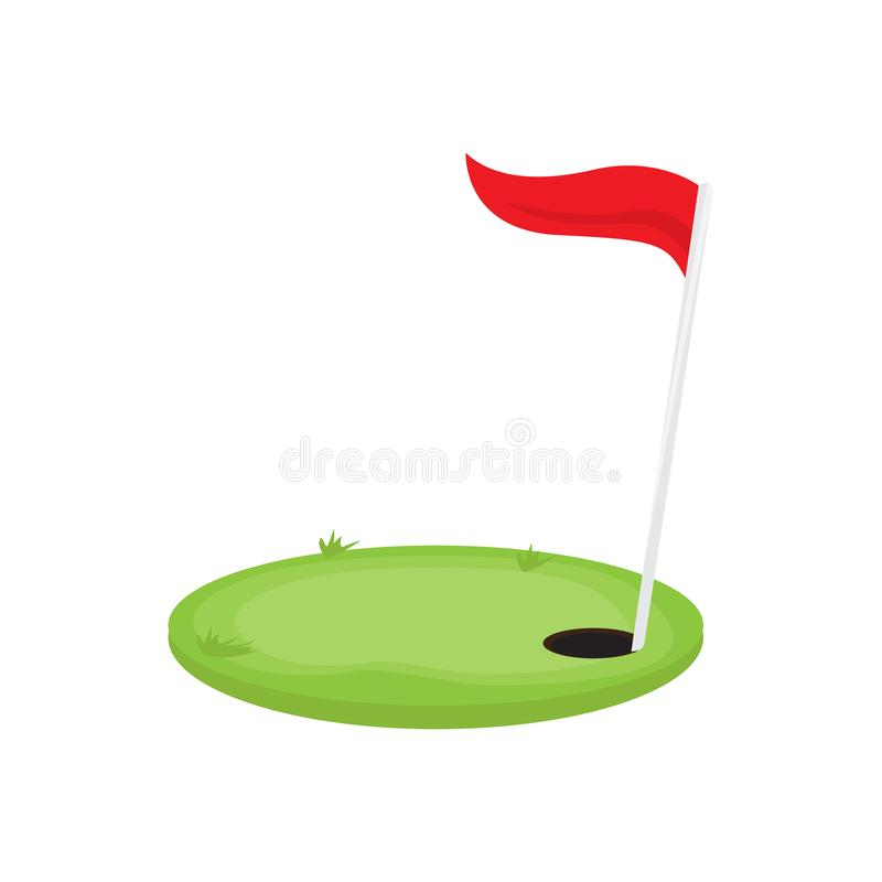 Golf hole with a red flag royalty free illustration