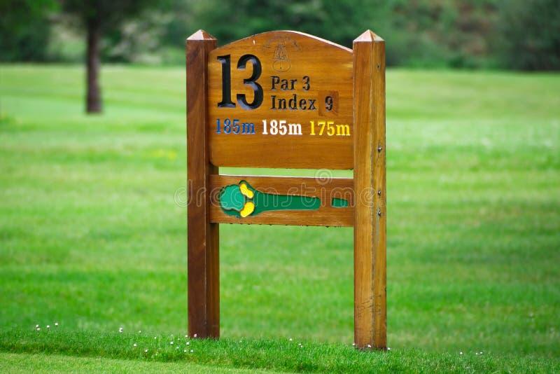 Golf hole sign stock image