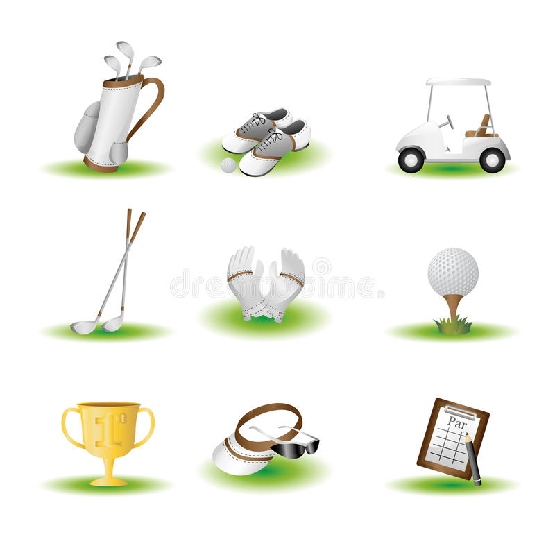 Download Golf icons stock vector. Image of cart, shades, trophy - 23365666