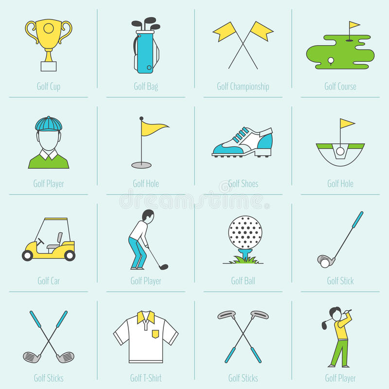 Golf Icons Flat Line royalty free illustration