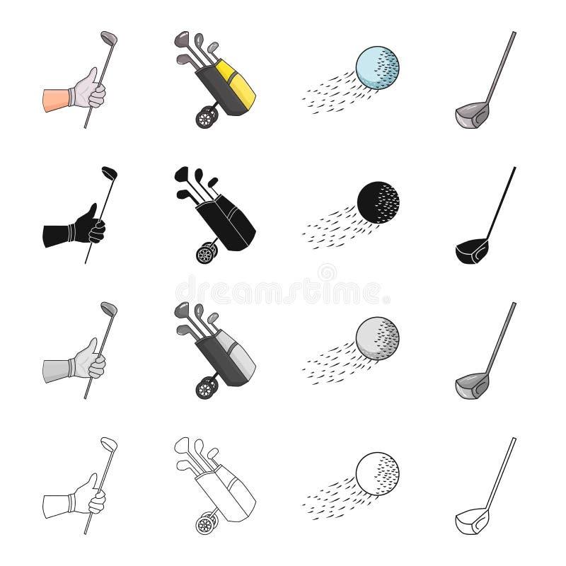 Golf il bastone a disposizione, putter in borsa, palla in volo, bastone Icone stabilite della raccolta di golf nel profilo di mon illustrazione di stock