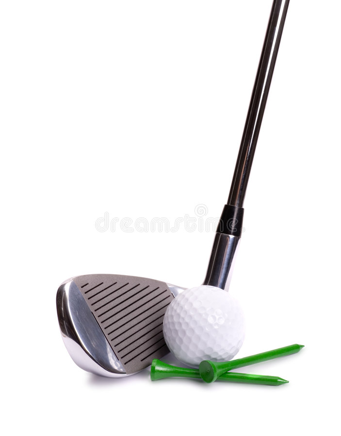 Golf Iron, Ball and Tees royalty free stock photography