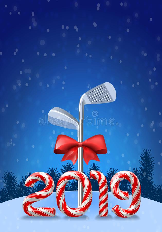 Golf irons with candy cane vector illustration