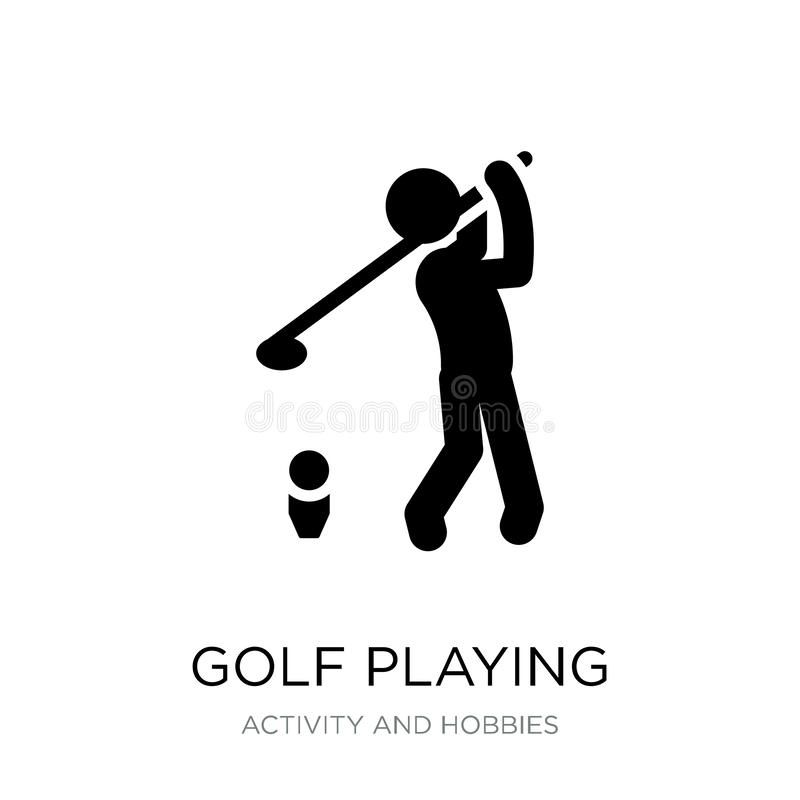 golf jouant l'icône dans le style à la mode de conception golf jouant l'icône d'isolement sur le fond blanc golf jouant l'icône d illustration stock