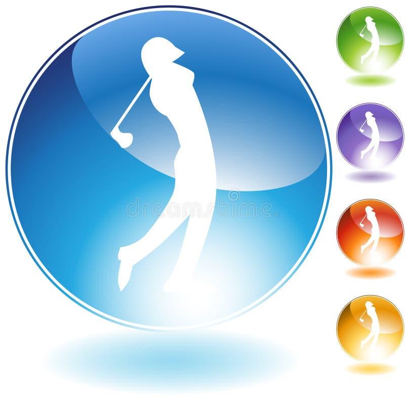 Golf-Kristall-Ikone lizenzfreie abbildung