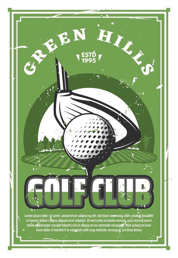 Golf la bandera del vintage del club de deporte con la bola en camiseta libre illustration