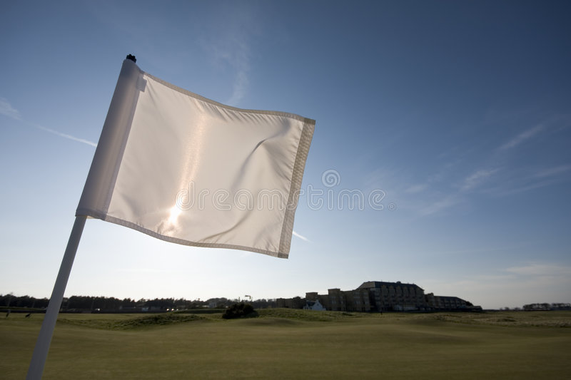 Golf la bandierina, il primo foro, vecchio corso della st Andrews fotografia stock libera da diritti
